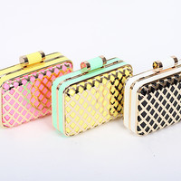 New Style Celebrity Brand Designer Laser Cut Metallic Box Party Clutch Wedding Purse