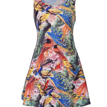 Streetstyle  Casual Colorful Peacock Printed Round Neck Plus Size Shift Dress