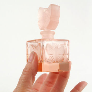 Vintage Pink Perfume Bottle with Butterfly Design