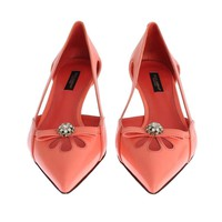 Dolce & Gabbana Pink Leather Crystal Kitten Heels Shoes