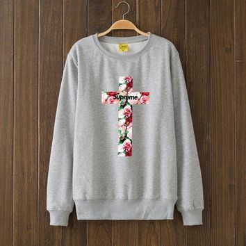 Supreme Flower Woman Men Top Sweater Pullover2