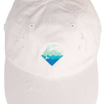 The Waves Denim Strapback in White