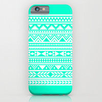 Turquoise White Aztec Urban Tribal Geometric Pattern iPhone & iPod Case by Hyakume