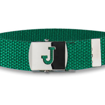 Kids Initial Belt GREEN Girls Boys Infants Tweens ALL letters available.