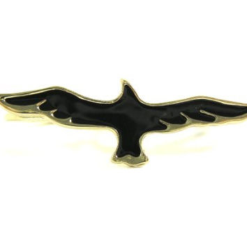 Hawk Double Ring Size 6.5 Knuckle Band Native Tribal RF29 Black Eagle Fashion Jewelry