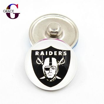 Oakland Raiders Football Team Sports Charms 18mm Replaceable Ginger Glass Snap Buttons Fit Snap Women Bracelets&Bangles Jewelry