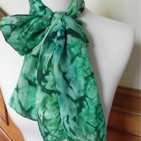 Long silk scarf hand dyed shades of green, crepe silk scarf #404, ready to ship