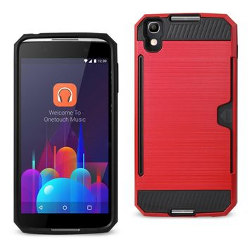 REIKO ALCATEL ONE TOUCH IDOL 4 SLIM ARMOR HYBRID CASE WITH CARD HOLDER IN RED