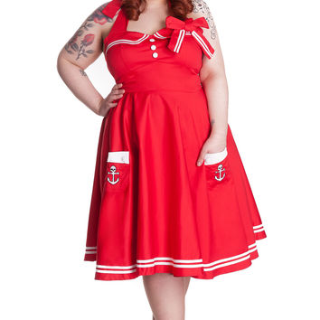 Hell Bunny Plus Size 50's Motley Holiday Red Sailor Pinup Dress