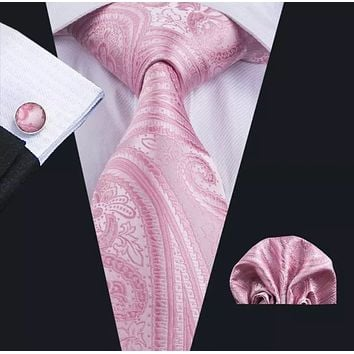 Men's Silk Coordinated Tie Set - Pink Paisley