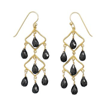 14 Karat Gold Plated Black Spinel Earrings