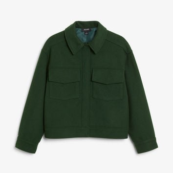 Utility jacket - Deep forest green - Coats & Jackets - Monki DK