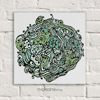"Canvas print Ready to hang GREEN MANDALA, Art Wall Decor, Bedroom Painting, Home Decor Wall, Art Home & Living Room 7.8""x7.8"""