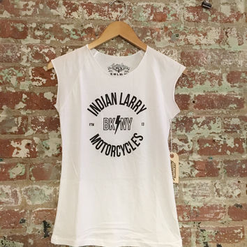 Indian Larry Ladies BK NY Cap Sleeve, White