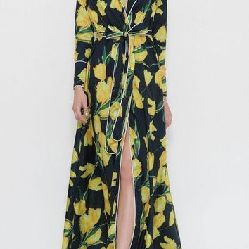 'emily' long sleeve wrap maxi dress