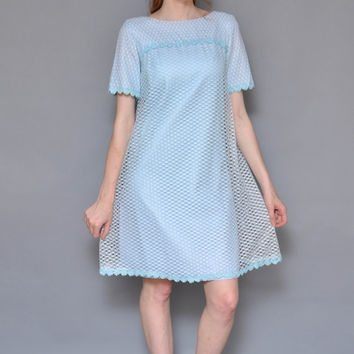 60s LACE MESH daisy embroidered mod mini dress // pastel baby blue layered empire waist lolita babydoll short sleeve tent princess dress