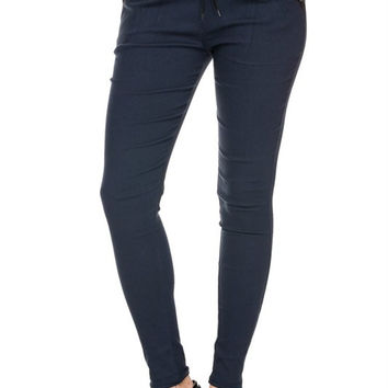 Women Stretch Twill Drawstring Jogger Pants Trousers Pockets Tailored Fit Casual