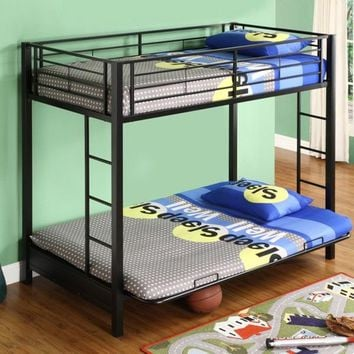 Black Metal Twin over Full-size Futon Bunk Bed Frame