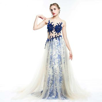 See-Through Tulle Evening Dress Crystal Velvet Appliques Long Prom Dress Party Gown In Stock