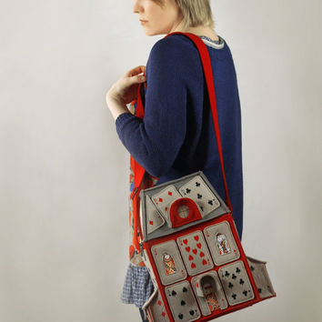 House Of Playing Cards Felt Bag (Alice in Wonderland)