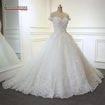 Boat Neck Short Sleeve Lace Applique Wedding Dress