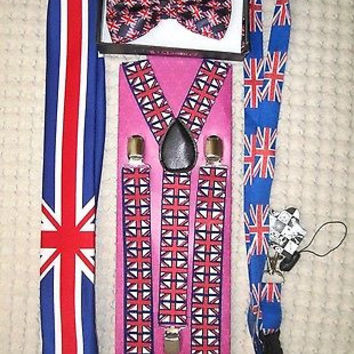 UK British Flag Y-Back Suspenders,UK Lanyard,UK Neck Tie & UK British Bow Tie-22