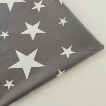 Shiny Stars Designs Grey Cotton Fabric Scrapbooking Home Textile Quilting Patchwork Baby Bedding Telas CM Decoration Tissue