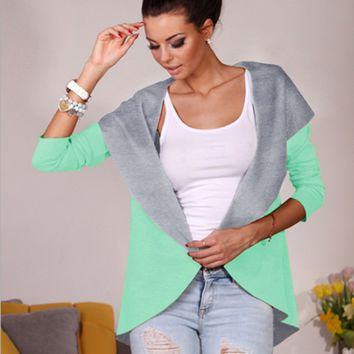 Block Half-Sleeve Faux Suede Open Cardigan