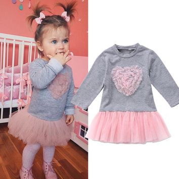 New Kids Baby Girls Lace Tutu Dress Skirt Sweater Sweatshirt Outfit Clothes Pink