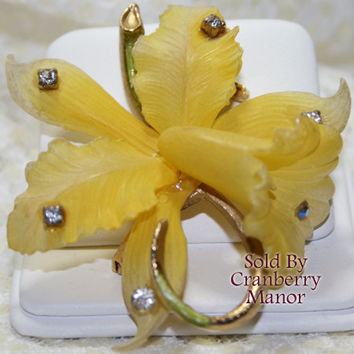 Vintage West Germany Yellow Daffodil Flower Rhinestone  Brooch