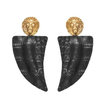 LION HEAD BLACK LEATHER EARRING