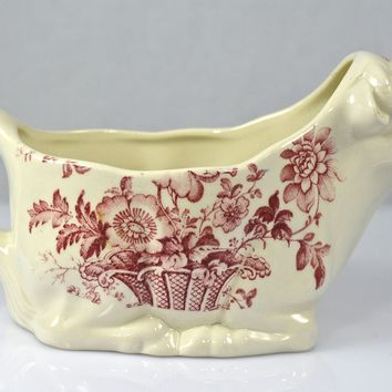 Cow Shaped Red / Pink English Transferware Ironstone Pitcher Creamer Charlotte  Toile Floral Transferware