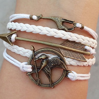 Hunger games letty retro inspired Mockingjay bird bracelet,arrow bracelet,giraffe bracelet,Christmas gift.