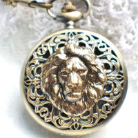 Lion head pocket watch,  men's lion pocket watch with bronze lion on front cover