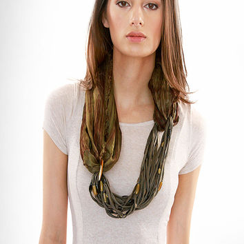 Loop Silk Dyed Necklace Scarf in Olive