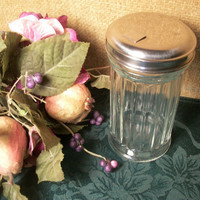 Vintage 1960's Chefmate Diner Style Sugar Dispenser Clear Glass Jar with Stainless Steel Lid and Fliptop Spout