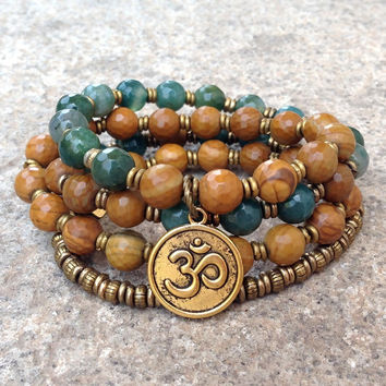 Abundance and Protection, faceted Jasper and moss agate 54 bead convertible wrap mala bracelet or necklace