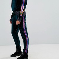 Iceberg Velvet Side Stripe Tracksuit Pant at asos.com