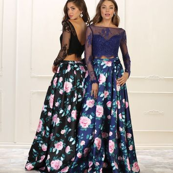 Long Prom Dress Two Piece Set Floral Print