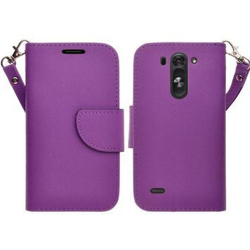 LG G3 s   LG G3 mini   LG G3 Beat   LG G3 Vigor   LG D725   LG D722 Case, Wrist Strap Flip Folio [Kickstand Feature] Pu Leather Wallet Case with ID & Credit Card Slots - Purple
