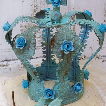 Large blue teal distressed crown shabby chic French Santos style home decor anita spero