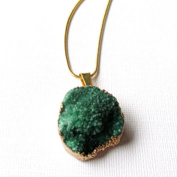 Green Druzy Gold Pendant, Emerald Green Drusy Agate Teardrop,  Drussy Druzzy Gemstone Pendant With Loop, Select With/Without Chain