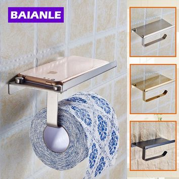 Baianle Wall Mount Stainless Steel Brushed Roll Toilet Paper Holder Bathroom Tissue Holder with Mobile Phone Storage Shelf Rack