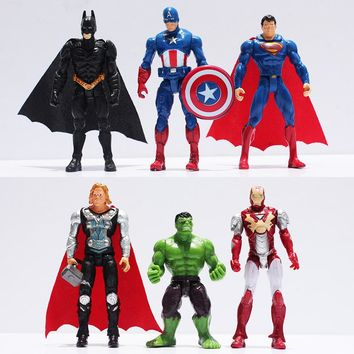 6pcs/set The Action Figures Batman Spider man Iron Man Hulk Thor Captain America Action Toy Figures Boys Girls Toy