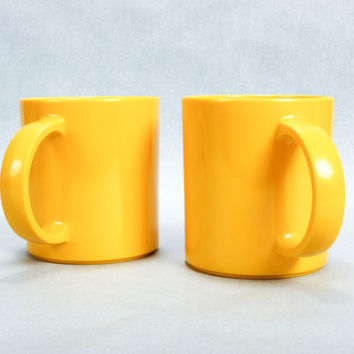 Pair of Copco Mugs Bright Yellow Melamine Mepal Cups with Handles