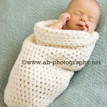 Newborn Crochet Baby Cocoon, cream, natural, Photo Prop