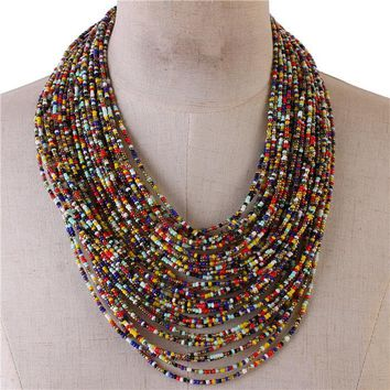 "21"" seed bead multi row layered choker collar bib necklace"