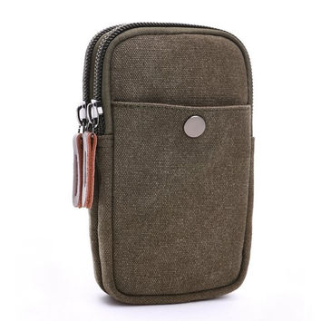 Mens Wallet Case Wristlet Wallet Casual Canvas Phone Case For Iphone Case