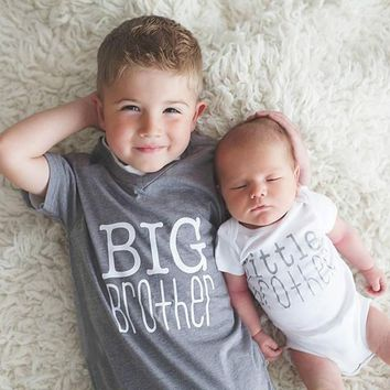 Baby Fashion Big Brother and Little Brother Letter Print Tshirt