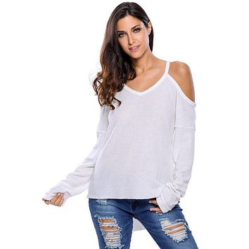 Women Pullovers Sweaters Autumn Sexy Off Shoulder V neck Long Sleeved Loose Thin Sweater Ladies Irregular Knitted Strap Jumper